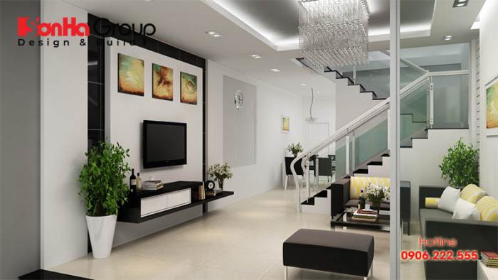 Thiết kế phòng khách nhà ống có cầu thang với trang trí đẹp mắt