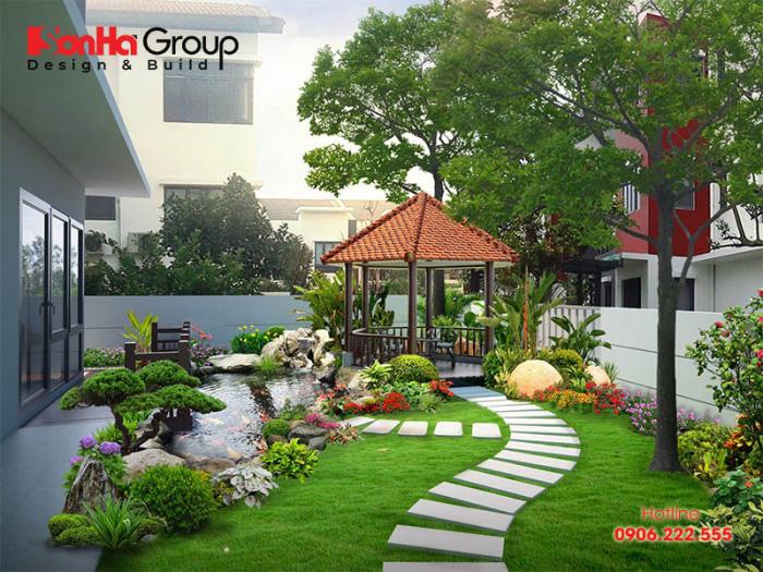 Thiết kế sân vườn có vai trò nâng cao thẩm mỹ cho toàn thể ngôi biệt thự