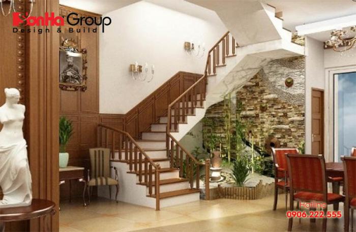 Tiểu cảnh khổ dưới gầm cầu thang được thiết kế hài hòa đẹp mắt