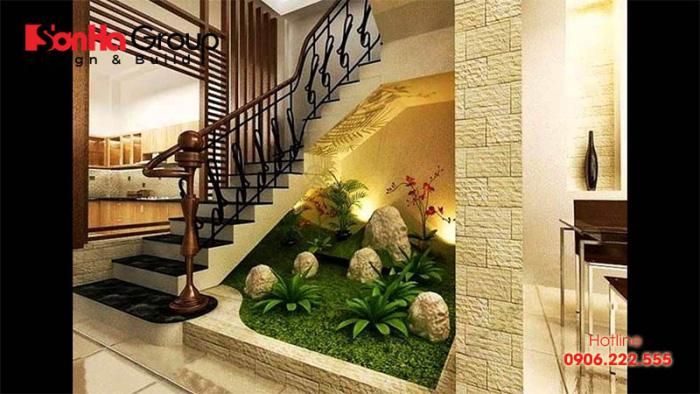 Trang trí gầm cầu thang nhà ống với tiểu cảnh khô thiết kế đẹp