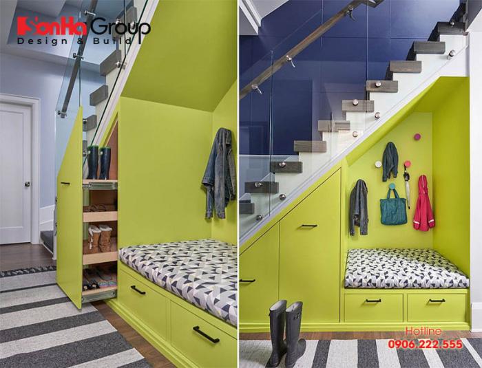 Ý tưởng tận dụng gầm cầu thang cực sáng tạo để làm nơi nghỉ ngơi