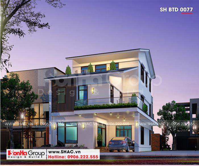Thiết kế kiến trúc biệt thự mái thái 3 tầng hiện đại diện tích 180m2 tại Quảng Ninh