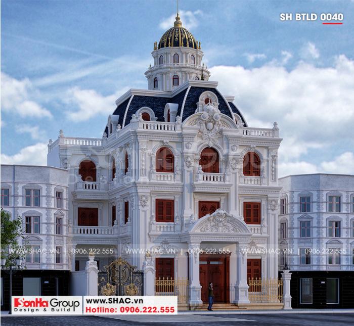 Kiến trúc ngôi biệt thự lâu đài cổ điển đẹp 3 tầng 1 tum mái chóp ấn tượng tại huyện Gia Lâm – Hà Nội