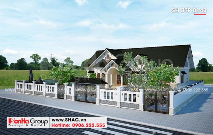 Phối cảnh tổng thể khuôn viên ngôi biệt thự 1 tầng phong cách tân cổ điển tuyệt đẹp tại huyện Vĩnh Bảo (Hải Phòng)