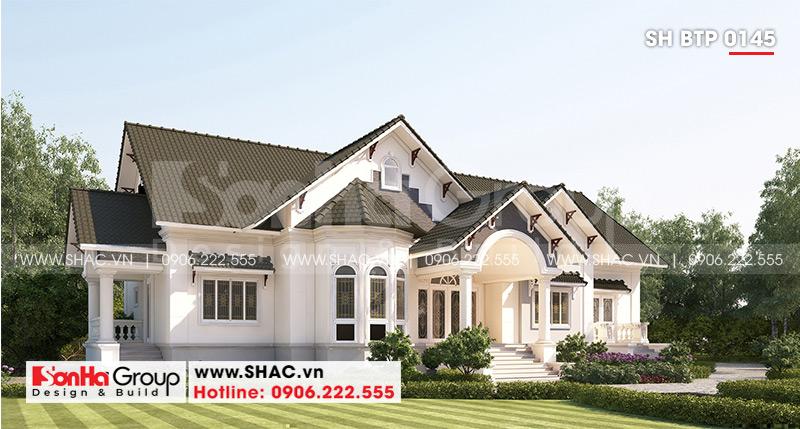Biệt thự mái thái 1 tầng tân cổ điển diện tích 357,25m2 tại Vĩnh Long – SH BTP 0145 2
