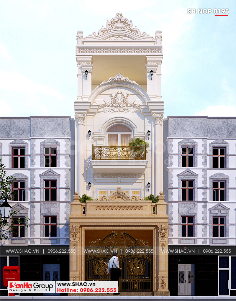 Thiết kế nhà ống kiến trúc Pháp 4 tầng đẹp và tiện nghi tại Hải Phòng