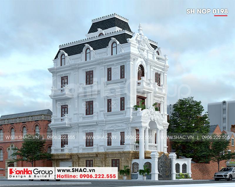 Thiết kế nhà ống bán biệt thự kiểu cổ điển Pháp 5 tầng 7,5m x 11,78m tại Hải Phòng – SH NOP 0198 1