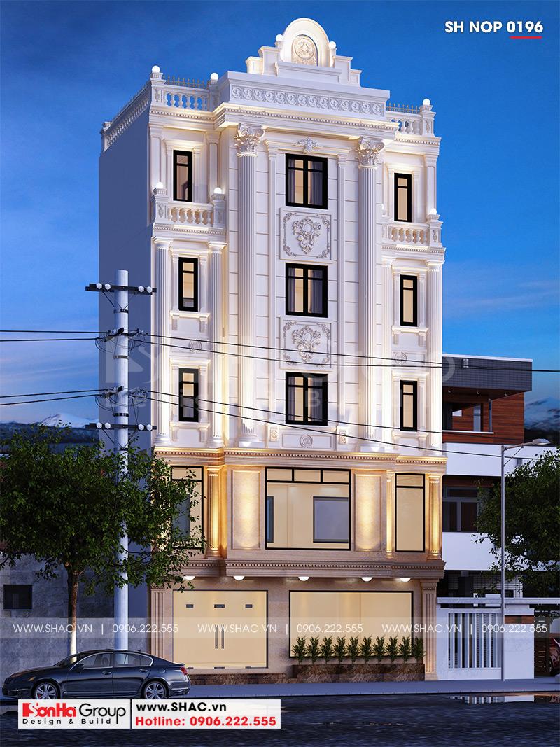 Mẫu nhà ống đẹp 5 tầng phong cách tân cổ điển kết hợp kinh doanh cafe