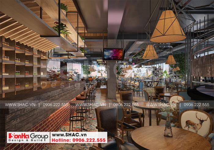 Thiết kế nội thất khu cafe với cam màu trầm ấm tạo thiện cảm