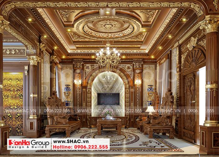 Choáng ngợp với không gian phòng khách được đầu tư thiết kế nội thất gỗ cao cấp
