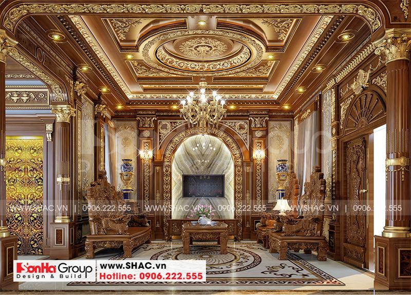 Mẫu thiết kế nội thất phòng khách biệt thự đẹp - sang của Sơn Hà Group