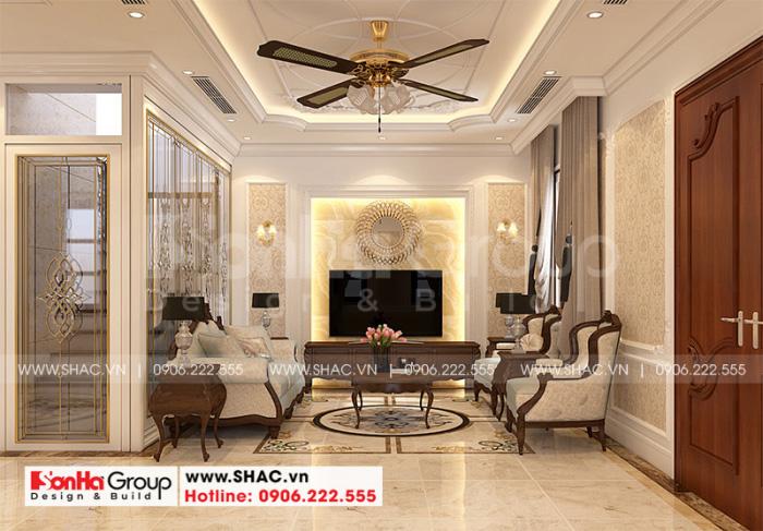 Thiết kế phòng khách đẹp đẹp và sang của ngôi nhà phố cổ điển tại Hải Phòng