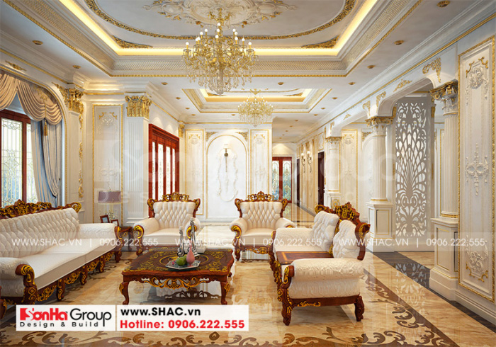 Mẫu thiết kế nội thất phòng khách gia đình vương giả, quyền quý với tone màu ấm cúng nhất