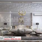 1 Thiết kế nội thất phòng khách kiểu tân cổ điển tại hải phòng