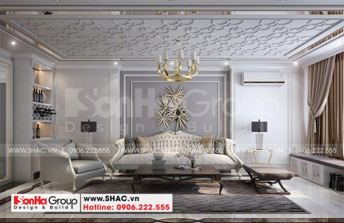 Thiết kế phòng khách đẹp phong cách tân cổ điển cho nhà phố sang trọng