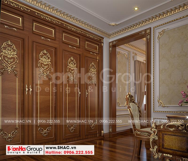 Thiết kế biệt thự lâu đài cổ điển 3 tầng 1 tum diện tích 149,5m2  xa hoa nhất Hà Nội  - SH BTLD 0040 17