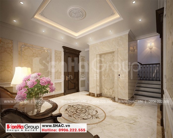 Phương án bố trí nội thất sảnh thang đẹp mắt của ngôi nhà phố tân cổ điển