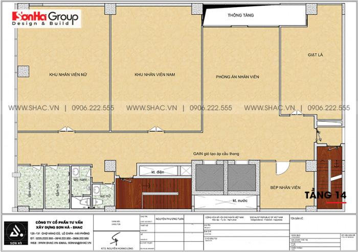Mặt bằng công năng tầng 14 khách sạn 4 sao CN Palace Boutique Đà Nẵng