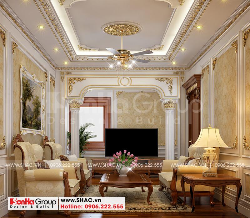 Thiết kế biệt thự lâu đài cổ điển 3 tầng 1 tum diện tích 149,5m2  xa hoa nhất Hà Nội  - SH BTLD 0040 19
