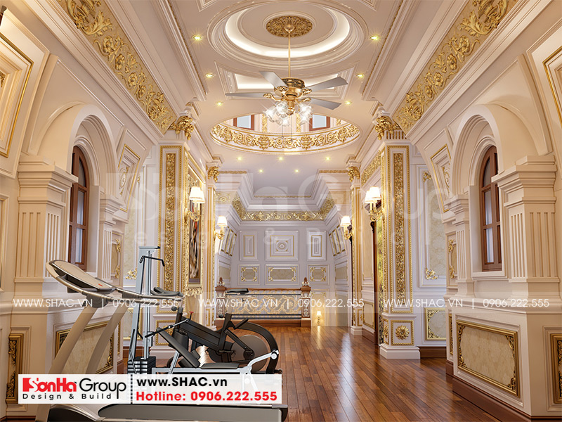 Thiết kế biệt thự lâu đài cổ điển 3 tầng 1 tum diện tích 149,5m2 xa hoa nhất Hà Nội - SH BTLD 0040 20