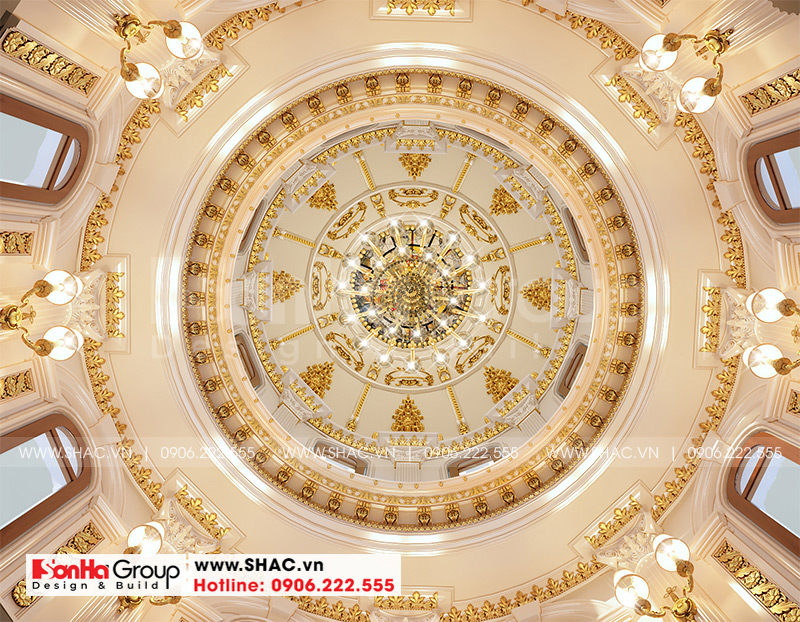 Thiết kế biệt thự lâu đài cổ điển 3 tầng 1 tum diện tích 149,5m2 xa hoa nhất Hà Nội - SH BTLD 0040 22