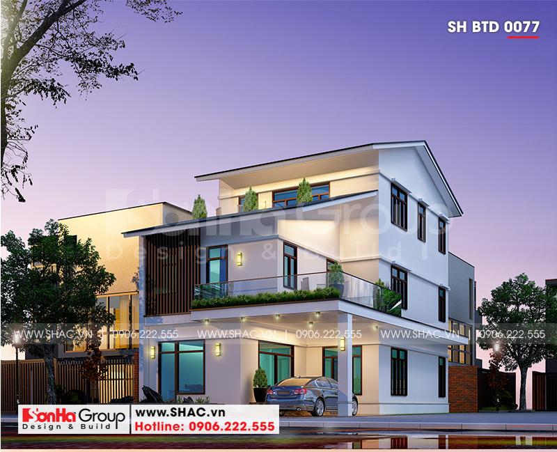 Biệt thự hiện đại mái thái 3 tầng diện tích 9m x 20m tại Quảng Ninh- SH BTD 0077 1