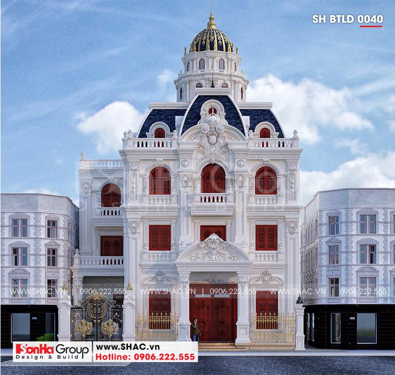 Thiết kế biệt thự lâu đài cổ điển 3 tầng 1 tum diện tích 149,5m2  xa hoa nhất Hà Nội  - SH BTLD 0040 2