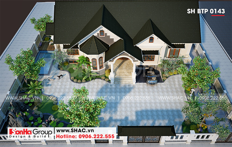 Mẫu biệt thự nhà vườn 1 tầng diện tích 22,86m x 10,16m tại Hải Phòng – SH BTP 0143 3