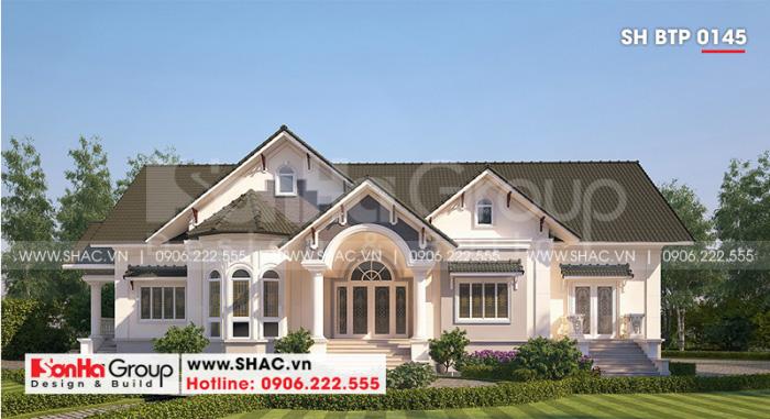 Kiến trúc tân cổ điển tạo nên sự sang trọng và tinh xảo cho mẫu biệt thự 1 tầng mái thái mặt mặt tiền rộng 23,35m tại Vĩnh Long