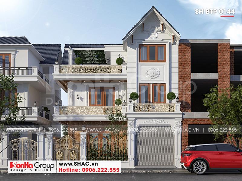 Thiết kế biệt thự 3 tầng tân cổ điển mái thái 8,6m x 9,7m tại Hải Phòng – SH BTP 0144 2