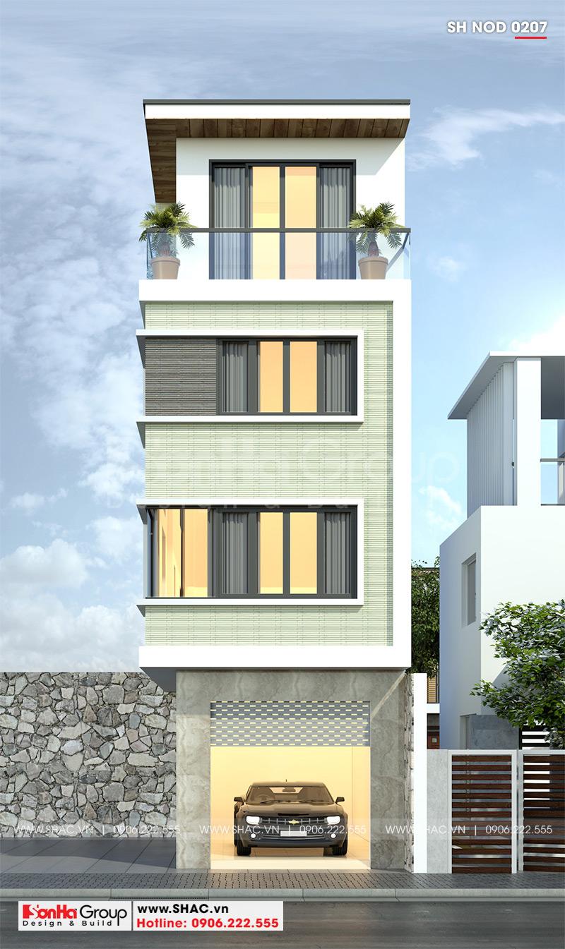 Thiết kế kiến trúc mặt tiền 4m đẹp hiện đại của nhà ống 4 tầng tại Hải Phòng