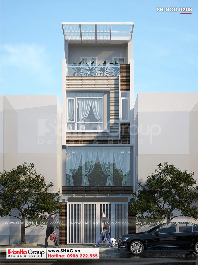 Kiến trúc ngôi nhà ống 4 tầng ưu tiên sử dụng những vật liệu hiện đại, màu sắc hợp thời thu hút mọi sự chú ý