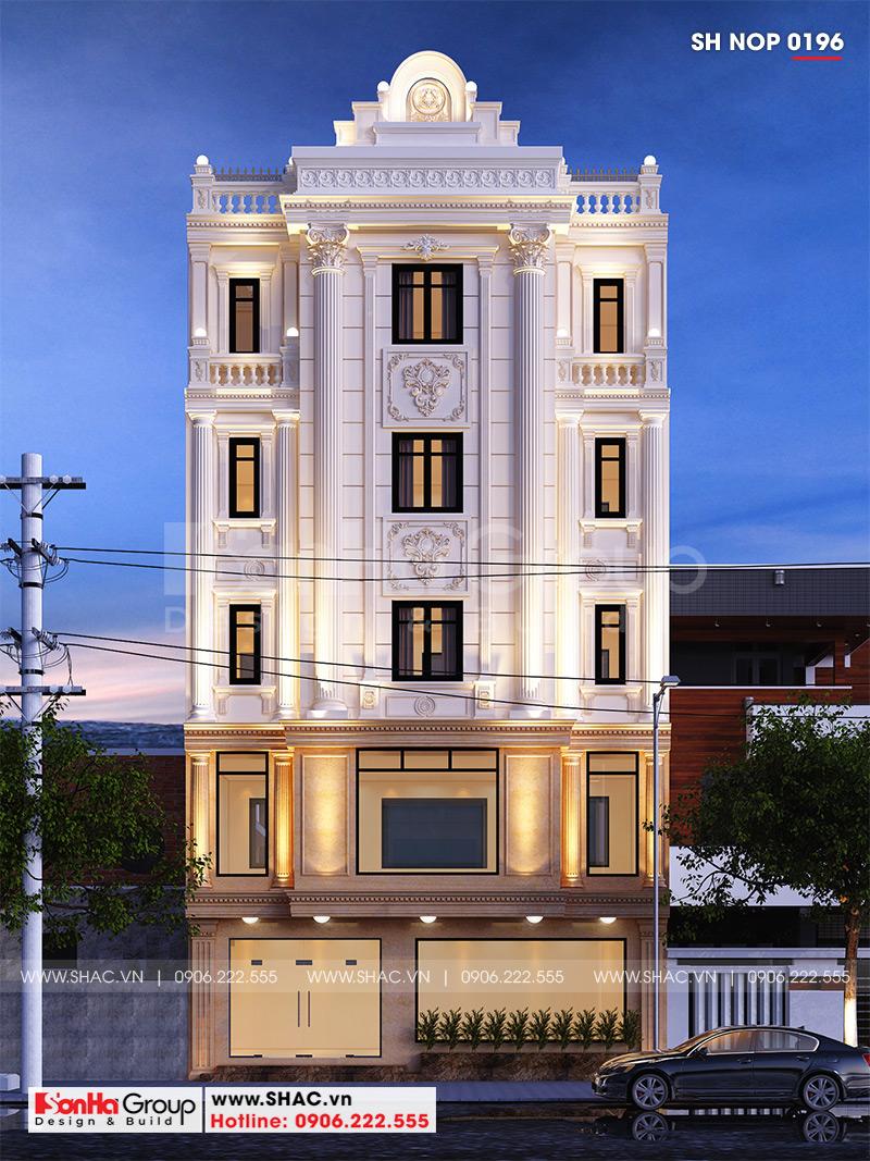 Mặt tiền 5,7m được trang trí đẹp của nhà ống tân cổ điển 5 tầng tại Nam Định