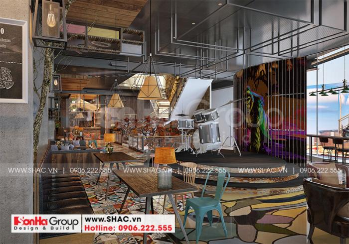 Không gian nội thất khu cafe được thiết kế theo phong cách mộc
