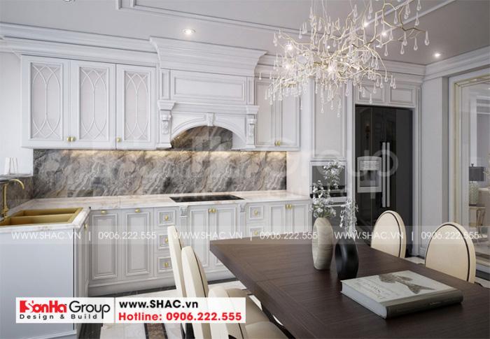 Không gian nội thất bếp ăn tân cổ điển đẹp mắt với gam màu tinh tế