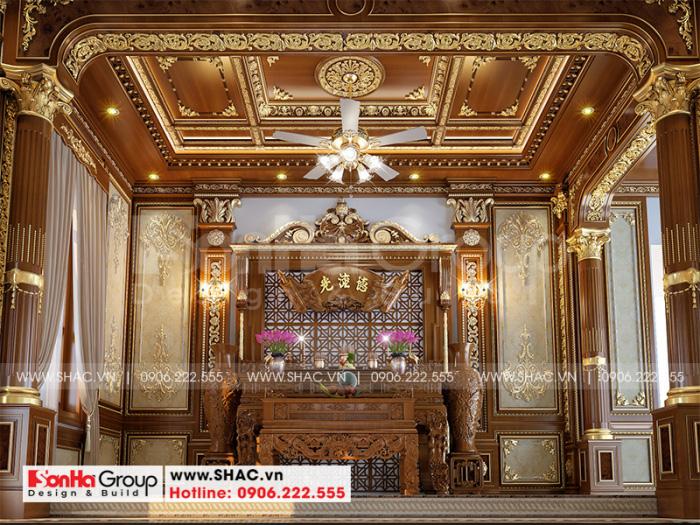 Không gian phòng thờ cũng được đầu tư trang trí nội thất đẳng cấp nhất đem đến nơi thờ cúng linh thiêng cho gia chủ