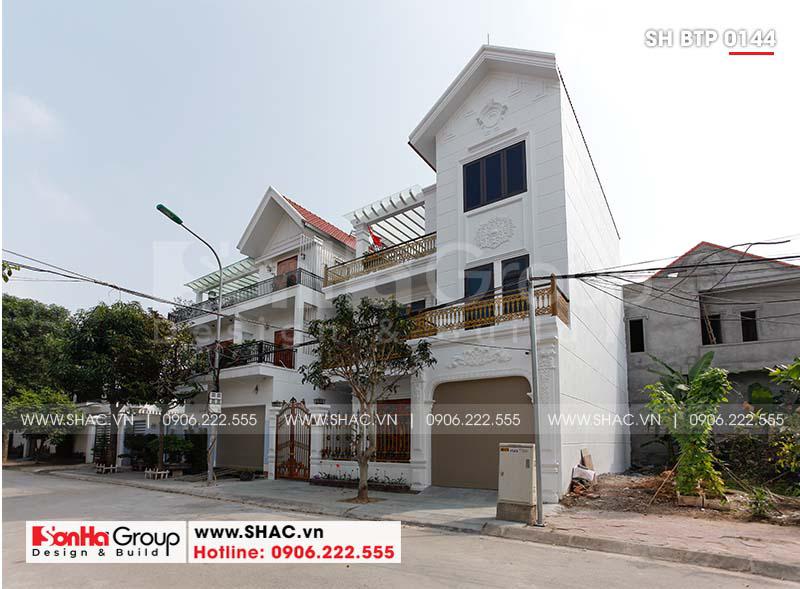 Thiết kế biệt thự 3 tầng tân cổ điển mái thái 8,6m x 9,7m tại Hải Phòng – SH BTP 0144 3