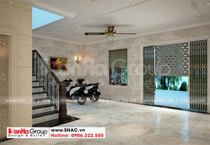Không gian nội thất gara được thiết kế rộng rãi thoáng đãng