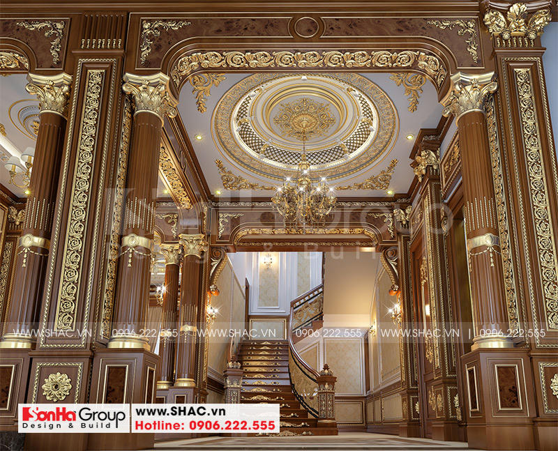 Thiết kế biệt thự lâu đài cổ điển 3 tầng 1 tum diện tích 149,5m2  xa hoa nhất Hà Nội  - SH BTLD 0040 10
