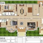 3 Mặt bằng tầng 1 biệt thự mái thái kiểu tân cổ điển tại vĩnh long sh btp 0145