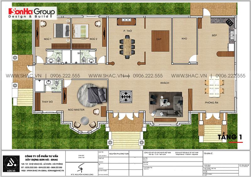 Biệt thự mái thái 1 tầng tân cổ điển diện tích 357,25m2 tại Vĩnh Long – SH BTP 0145 3