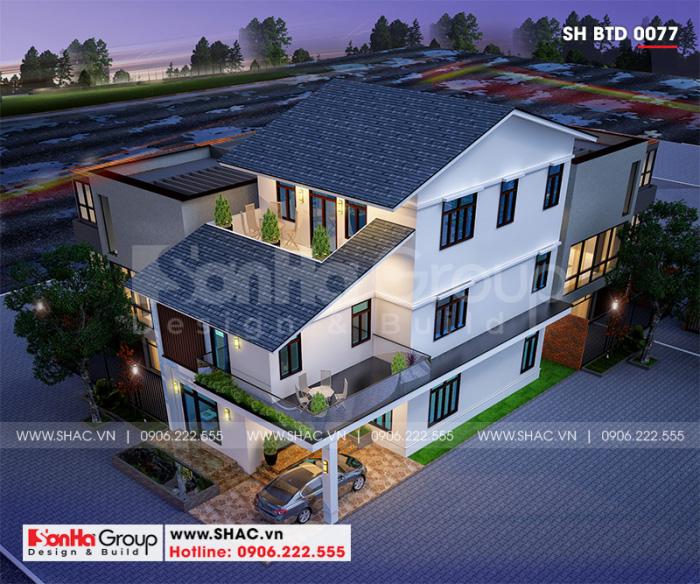 Phối cảnh tổng thể ngôi biệt thự 3 tầng phong cách hiện đại đẹp tại Quảng Ninh