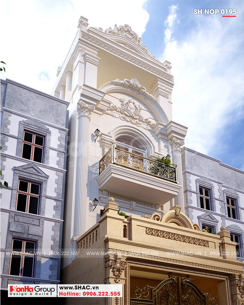 Mẫu mặt tiền nhà ống đẹp kiểu cổ điển Pháp 4 tầng diện tích 5,2x20m