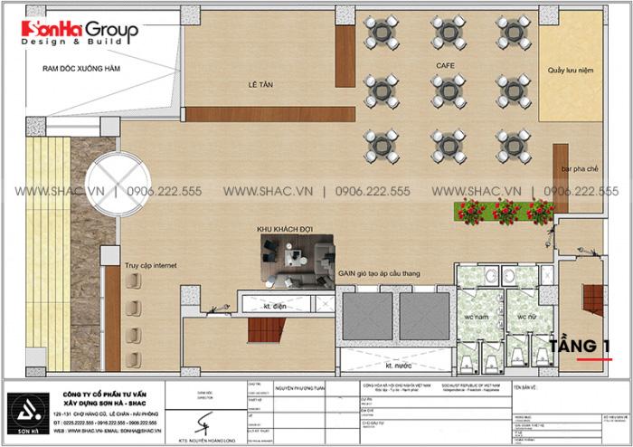 Mặt bằng công năng tầng 1 khách sạn 4 sao CN Palace Boutique Đà Nẵng