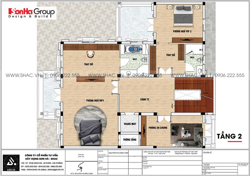 Thiết kế biệt thự lâu đài cổ điển 3 tầng 1 tum diện tích 149,5m2 xa hoa nhất Hà Nội - SH BTLD 0040 4