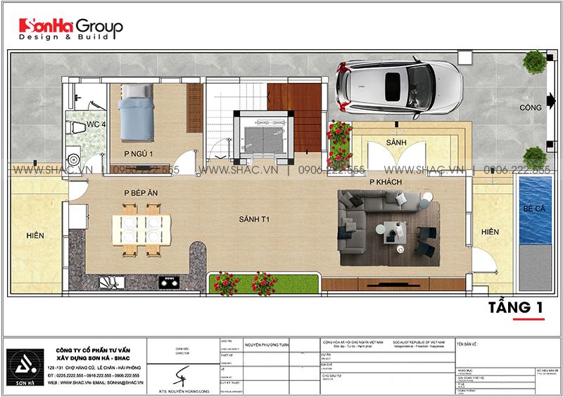 Biệt thự hiện đại mái thái 3 tầng diện tích 9m x 20m tại Quảng Ninh- SH BTD 0077 4