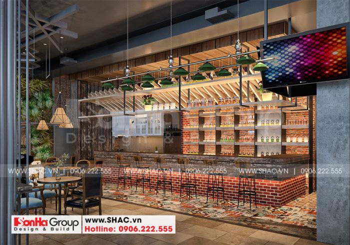 Từ mọi góc nhìn các đường nét thiết kế của khu cafe nhà hàng đều ấn tượng