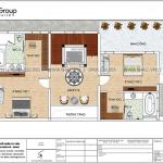 5 Bản vẽ tầng 2 biệt thự 3 tầng kiểu hiện đại tại quảng ninh sh btd 0077