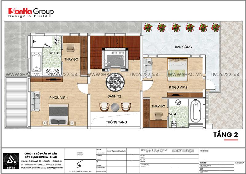 Biệt thự hiện đại mái thái 3 tầng diện tích 9m x 20m tại Quảng Ninh- SH BTD 0077 5