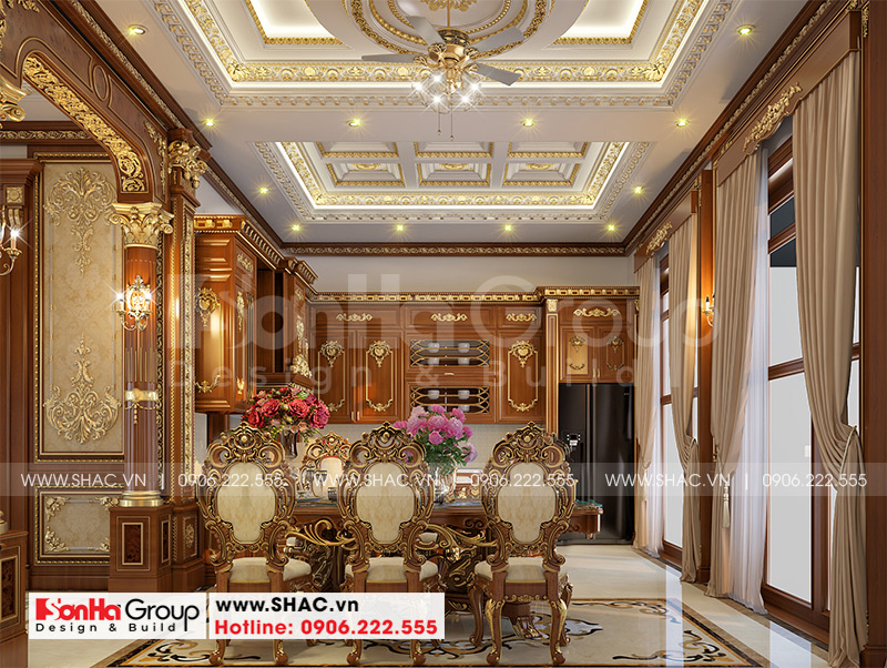 Thiết kế biệt thự lâu đài cổ điển 3 tầng 1 tum diện tích 149,5m2 xa hoa nhất Hà Nội - SH BTLD 0040 12